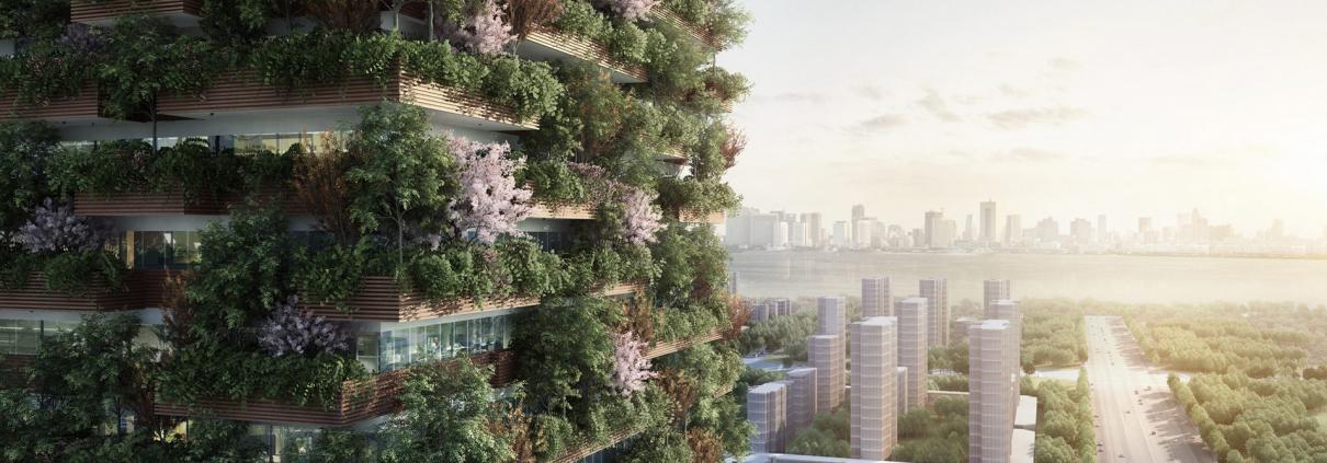 Un'immagine di come apparirà la foresta verticale di Huanggang, realizzata dal team dell'architetto italiano Stefano Boeri. FOTO: Studio Boeri Architetti.