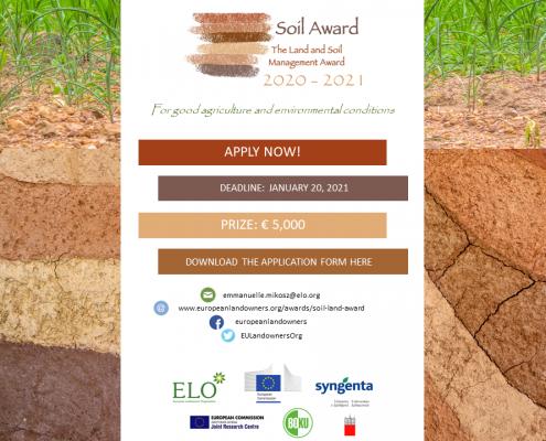 Istituito dalla European Landowners' Organization (ELO), il Soil award è il riconoscimento per la migliore pratica di gestione sostenibile del suolo agricolo. Immagine: European Landowners' Organization (ELO)