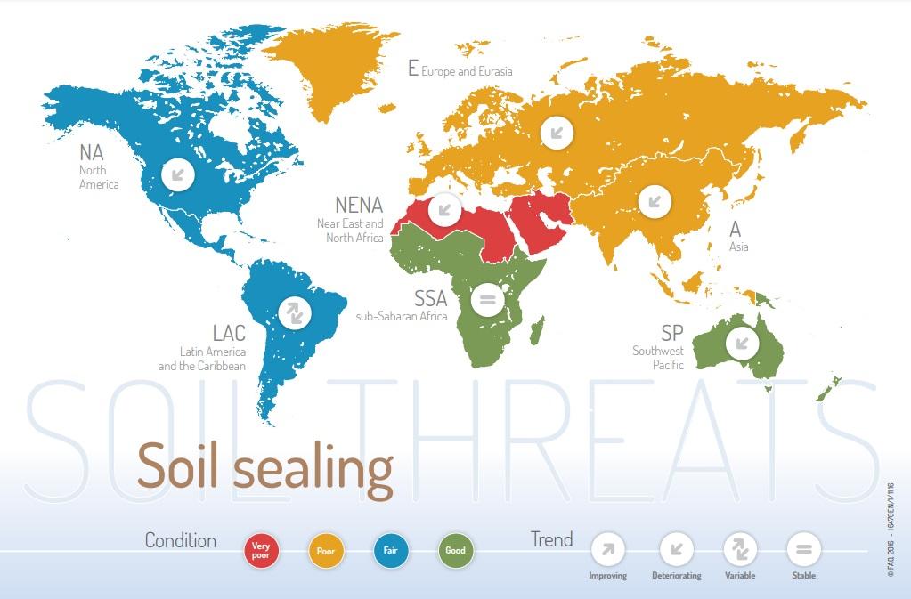 Il fenomeno del soil sealing è ampiamente diffuso. La situazione si sta aggravando nella maggior parte delle regioni del Pianeta. IMMAGINE FAO http://www.fao.org/3/a-i6470e.pdf