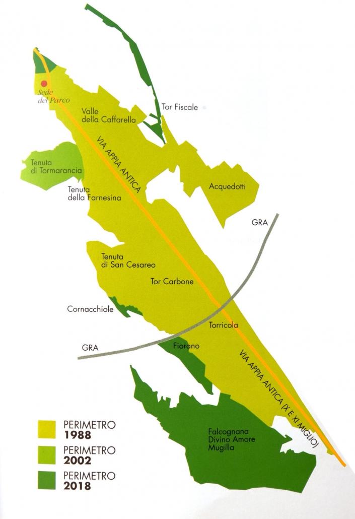 L'area protetta dal Parco Regionale dell'Appia Antica, completo dell'ampliamento previsto con la legge regionale del 2018. FONTE: Parco Appia Antica.