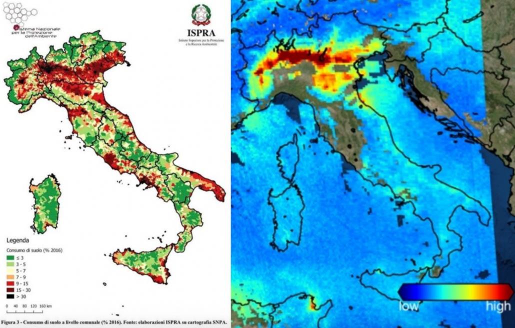 Il consumo di suolo e la qualità dell'aria sono due aspetti critici in tutta la Pianura Padana. FONTE: ISPRA ed ESA.