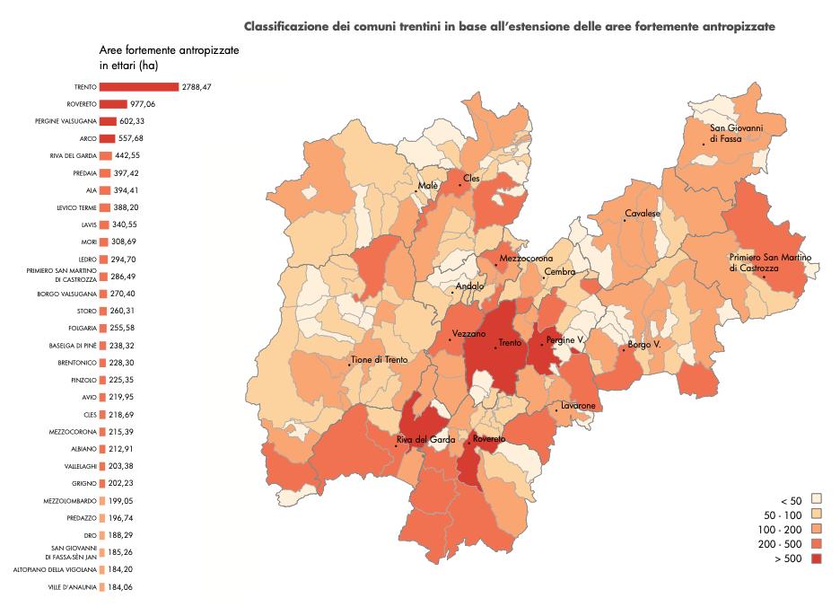Classificazione dei comuni trentini in base all'estensione delle aree fortemente antropizzate. FONTE: ricerca sulle dinamiche di urbanizzazione e sul consumo di suolo in trentino. Dicembre 2020 - Osservatorio Paesaggio Trentino.