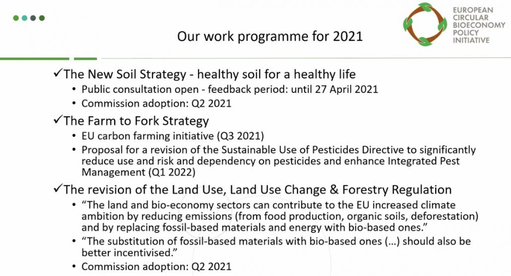 Le strategie UE che coinvolgono la bioeconomia circolare. Immagine: dalla presentazione della European Circular Bioeconomy Policy Initiative (ECBPI)