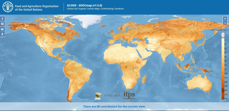 La mappa globale del carbonio organico del suolo (GSOCmap) ispira la sua omologa GSOCseq, anch'essa basata sulla raccolta e l'elaborazione dei dati. Immagine: FAO Attribution 4.0 International (CC BY 4.0)