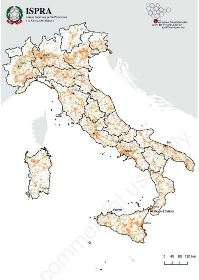 """Mappa della distribuzione delle aree degradate in Italia (2012-2018). """"Pur non utilizzando specificamente le versioni Copernicus"""" spiegano da JRC, """"ISPRA ha ustao gli indici per descrivere la produttività del suolo italiano"""". Immagine: ISPRA, """"Italian Journal of Agronomy 2020; volume 15:1770"""", Open Access"""