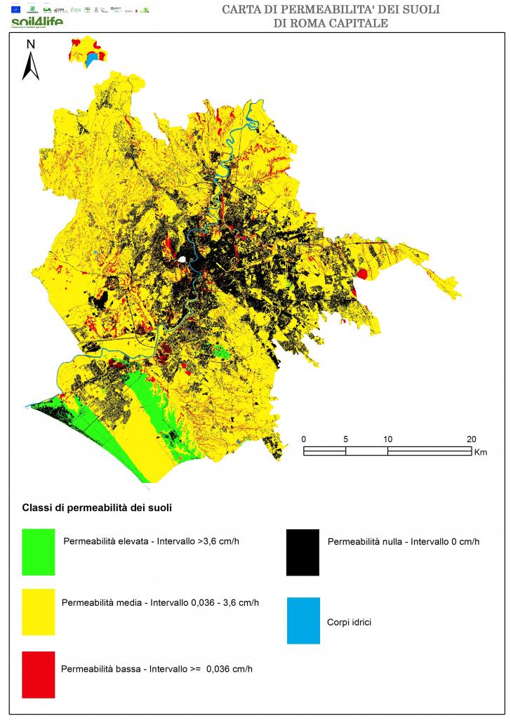 Classi di permeabilità dei suoli nel territorio di Roma Capitale. FONTE: ISPRA, Carta della permeabilità della copertura del suolo, 2021.