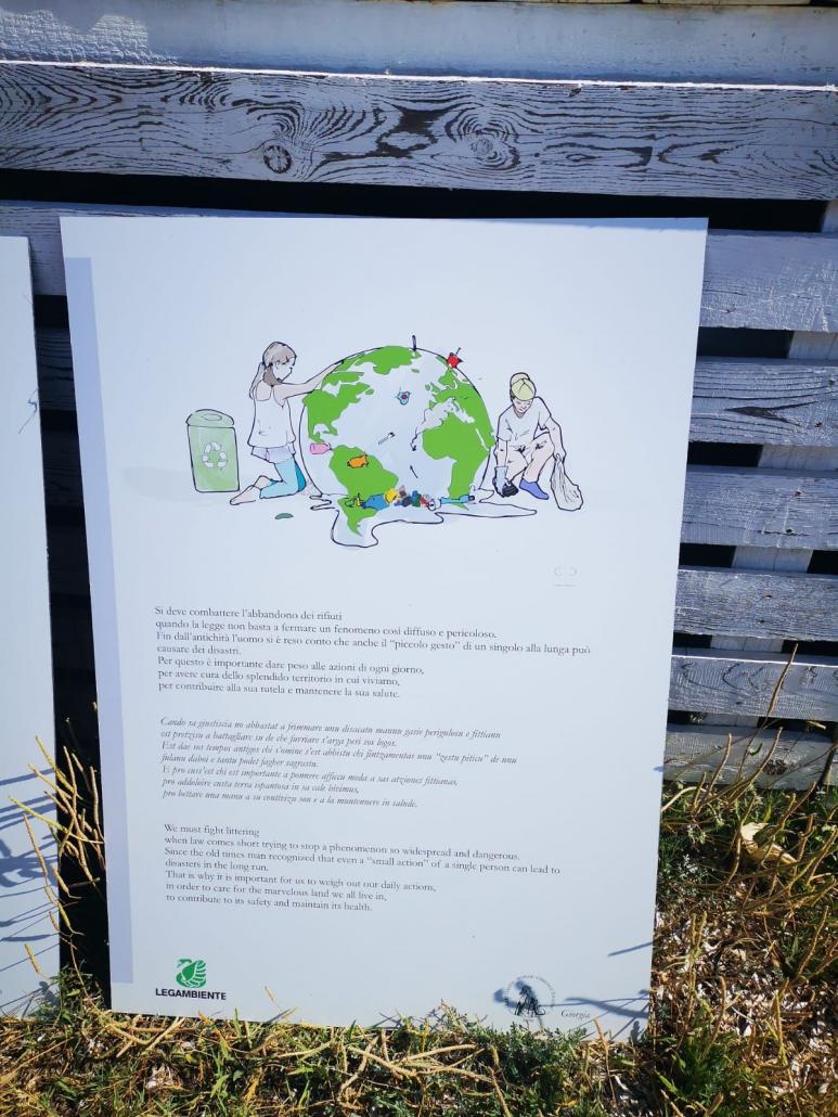 Uno dei pannelli divulgativi realizzati dagli studenti del Liceo Azuni di Sassari e da Legambiente per il terreno donato dal direttore d'orchestra Claudio Abbado in Sardegna. FOTO: Legambiente