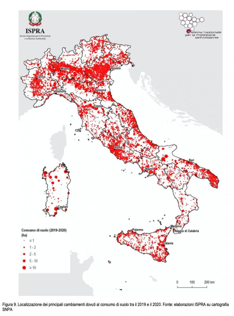 Localizzazione dei principali cambiamenti dovuti al consumo di suolo tra il 2019 e il 2020. FONTE: elaborazioni ISPRA su cartografia SNPA