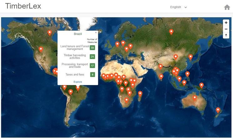 Mercato del legname sotto la lente grazie al portale TimberLex. Ad ogni Paese corrisponde un dossier sugli strumenti legali a disposizione. © FAO 2021, TimberLex https://timberlex.apps.fao.org/ Open Access