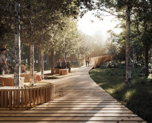 Il bosco di Montopoli prevede tra gli alberi vengano realizzate passerelle di diverse altezze per rendere l'area anche uno strumento didattico e di divulgazione ambientale. FOTO: Unicoop Firenze.
