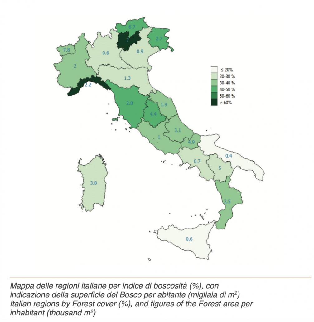 Mappa delle regioni italiane per indice di boscosità (%), con indicazione della superficie del Bosco per abitante (migliaia di m2). FONTE: terzo Inventario Forestale Nazionale